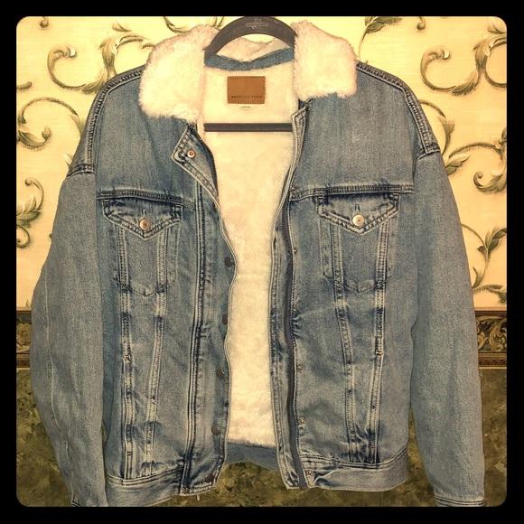 American Eagle Outfitters Jackets & Blazers - Sale! New! AE Warm fur jean jacket